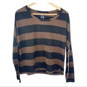 NWT Seven7 Black and Bronze Long Sleeve Top